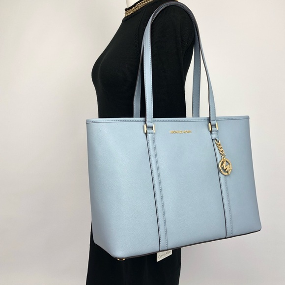 ff32174bd7cc Michael Kors Bags | Sady Large Top Zip Tote Pale Blue | Poshmark